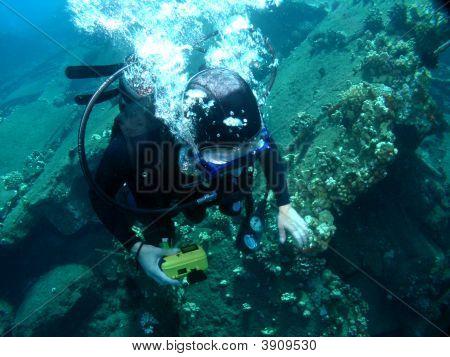 Scuba Diving On A Sunken Wharf