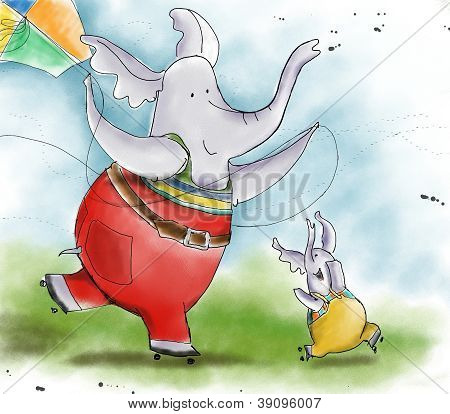 Elephant and his son flying kite