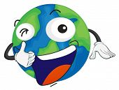 Постер, плакат: Иллюстрация планеты Земля на белом фоне