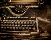 stock photo of old vintage typewriter  - Old rusty typewriter - JPG