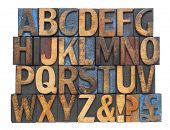 pic of symbol punctuation  - English alphabet with punctuation symbols  in vintage letterpress wood type blocks stained by blue - JPG