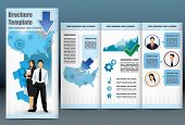 Trifold business brochure template with location map, information, analytical graph and management t