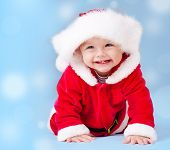 picture of santa baby  - Sweet baby wearing Santa costume - JPG