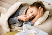 picture of blowing nose  - Sick Woman - JPG