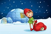 picture of igloo  - illustration of an igloo and a boy in a nature - JPG
