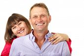 picture of average man  - Attractive cheerful woman with man in love smiling over white background - JPG