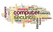 picture of computer hacker  - Computer security concept in word tag cloud on white background - JPG
