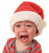 stock photo of crying boy  - Crying Santa baby boy - JPG