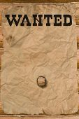 image of wild west  - Wanted poster with a hole  - JPG