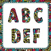 A, B, C, D, E, F. Letters of alphabet with ethnic motifs.