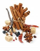 stock photo of barberry  - Arrangement of Cinnamon Sticks and Spices with Vanilla Pods Anise Stars Chili Pepper Cloves Barberries and Brown Sugar isolated on white background - JPG