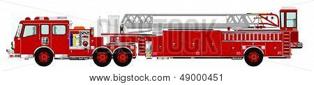 Red Tiller Tractor Drawn Aerial Fire Ladder with Pump