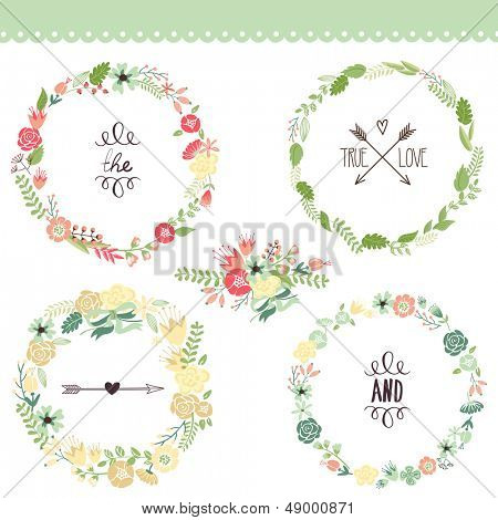 Floral Frame Collection. Set of cute retro flowers arranged un a shape of the wreath perfect for wedding invitations and birthday cards