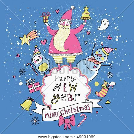 Merry Christmas and Happy New Year card in vector. Santa with Snowman and penguin wishing you Happy New 2014 Year in cartoon style