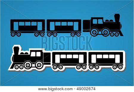 Train And Wagon Silhouets