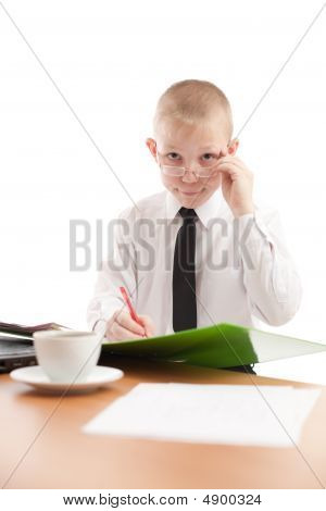 Teenager Look Over Glasses In Usual Office Space