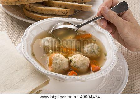 Traditional Jewish Passover Dish Matzah Ball Soup