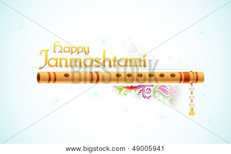 illustration of Happy Janmasthami background with colorful floral