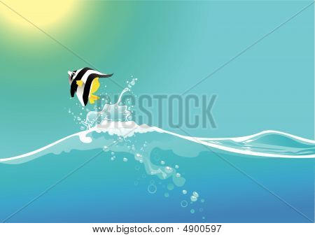 Water Wave And Jumping Fish