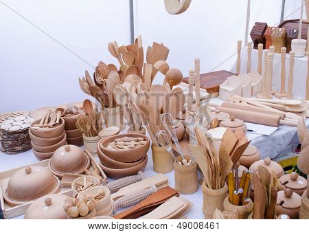 Handmade Wooden Kitchen Utensil Tools Market Fair