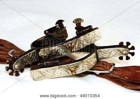 Western Fancy Engraved Spurs