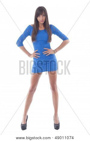 Attractive Young Woman In Blue Beach Cover-up