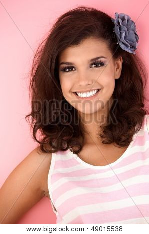 Portrait of beautiful young smiling girl.