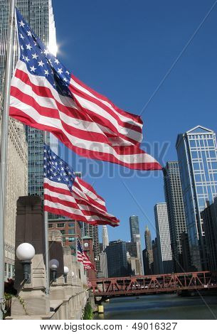 Two United States Flags in Chicago