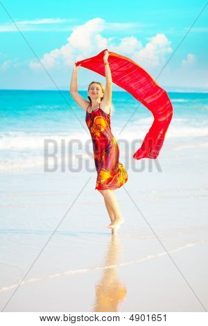 Woman With Red Sarong