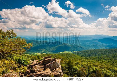 View Of The Blue Ridge Mountains From North Marshall In Shenandoah National Park, Virginia.