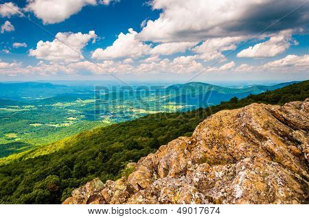 View Of The Shenandoah Valley From Cliffs On South Marshall, In Shenandoah National Park, Virginia.