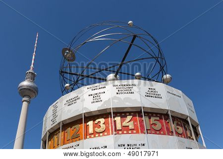 Television Tower And World Clock At Alexanderplatz In Berlin