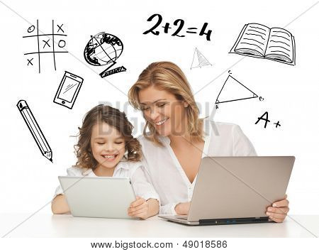 education, technology, internet and parenting concept - girl and mother with tablet and laptop
