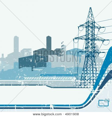 High-voltage Tower Silhouette On The Abstract Urban Background.