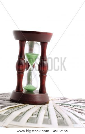 Sand Watch And Background Of Money