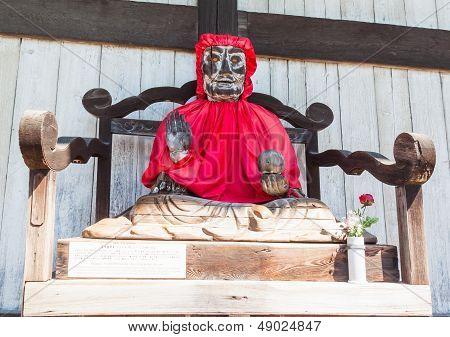Binzuru Pindola Wooden Statue In Todai-ji Temple, Nara, Japan