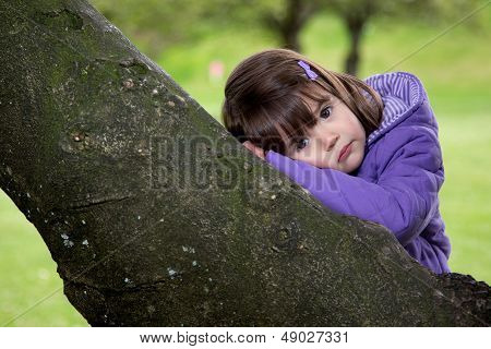 Beautiful Young Girl Resting On A Tree
