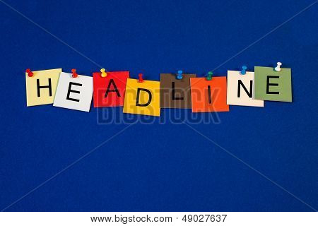 Headline - Sign Series For Business Terms.