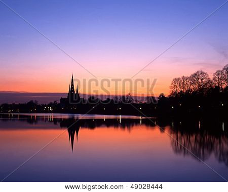 Cathedral silhouette at sunset, Lichfield, England.