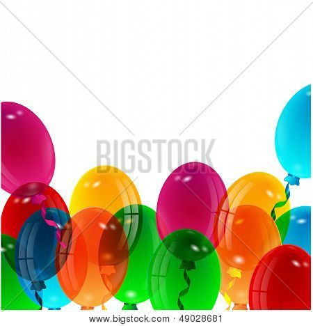 illustration of varicoloured balloons on a white backgroun