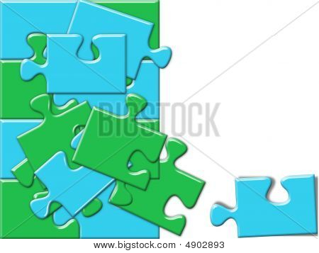 Blue And Green Puzzle Concept With Space For Text Or Image