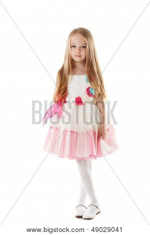 Little charming fashionista isolated on white