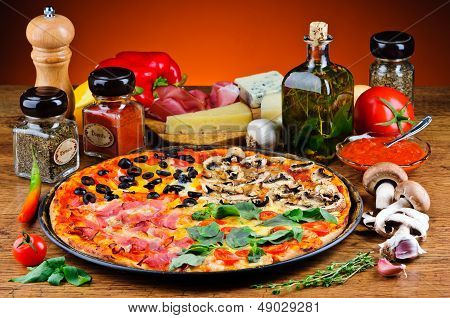 Traditional Pizza And Ingredients