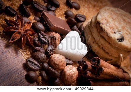 Coffee beans and various of sugar