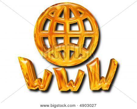 Golden Patterned Globe Www Letters - Internet Concept Over White