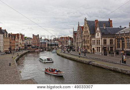 Views of the historical downtown Ghent Belgium