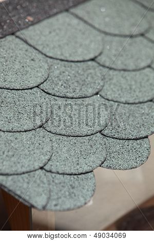 Rounded Roof Tiles Viewed From Above