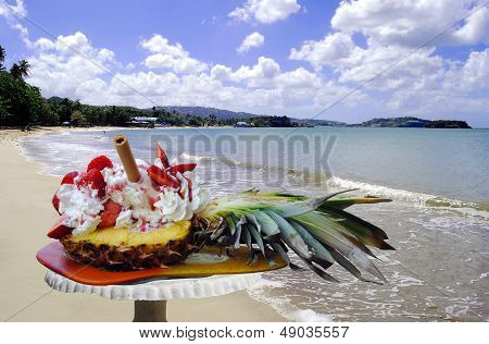 Pineapple and strawberry ice cream in St Lucia