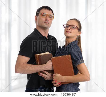 Nerd Couple With Books