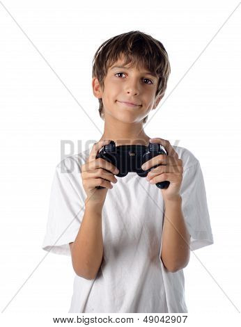 Child With Joystick Playing Videogames